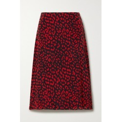 Alice Olivia - Sula Leopard-print Silk Crepe De Chine Midi Skirt - Red found on MODAPINS from NET-A-PORTER for USD $198.00