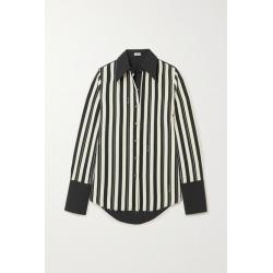Loewe - Striped Wool-twill And Cotton-poplin Shirt - Black found on Bargain Bro UK from NET-A-PORTER UK