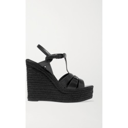 SAINT LAURENT - Tribute Woven Leather Espadrille Wedge Sandals - Black found on Bargain Bro India from NET-A-PORTER for $695.00
