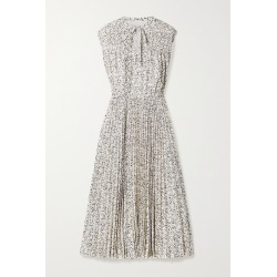 Jason Wu - Printed Pleated Crepe De Chine Midi Dress - Ecru found on MODAPINS from NET-A-PORTER for USD $695.00