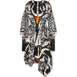 Alexander McQueen - Asymmetric Cutout Printed Silk-satin Midi Dress - Black found on MODAPINS from NET-A-PORTER UK for USD $5942.00