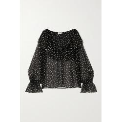 SAINT LAURENT - Ruffled Polka-dot Silk-chiffon Blouse - Black found on Bargain Bro UK from NET-A-PORTER UK