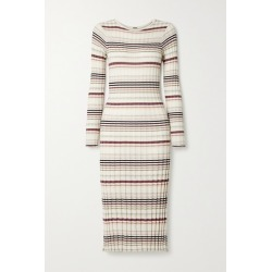 Adam Lippes - Striped Ribbed Silk And Cashmere-blend Midi Dress - White found on MODAPINS from NET-A-PORTER for USD $445.00