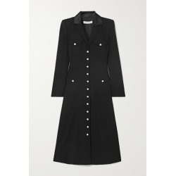 Alessandra Rich - Satin-trimmed Wool-blend Crepe Midi Shirt Dress - Black found on MODAPINS from NET-A-PORTER UK for USD $2105.57