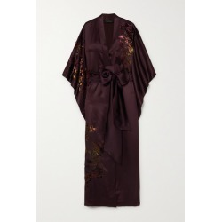 Carine Gilson - Belted Appliquéd Embroidered Silk-satin Robe - Burgundy found on MODAPINS from NET-A-PORTER for USD $2678.00