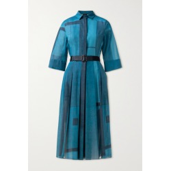 Akris - Belted Pleated Printed Cotton-voile Shirt Dress - Blue found on MODAPINS from NET-A-PORTER UK for USD $2368.01