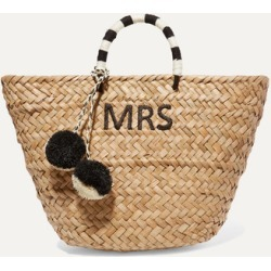 Kayu - St Tropez Pompom-embellished Embroidered Woven Straw Tote - Neutral found on MODAPINS from NET-A-PORTER for USD $175.00