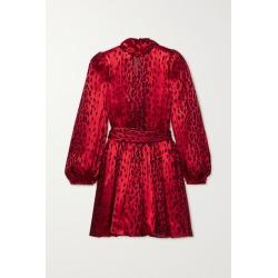 SAINT LAURENT - Belted Devoré-satin Mini Dress - Red found on Bargain Bro UK from NET-A-PORTER UK