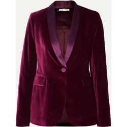 Alice Olivia - Macey Satin-trimmed Velvet Blazer - Purple found on MODAPINS from NET-A-PORTER for USD $520.00