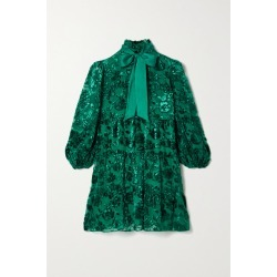 Alice Olivia - Octavia Pussy-bow Devoré-chiffon Mini Dress - Teal found on MODAPINS from NET-A-PORTER for USD $495.00