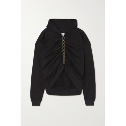 Dion Lee - Chain-embellished Ruched Cotton-jersey Hoodie - Black found on MODAPINS from NET-A-PORTER UK for USD $766.27
