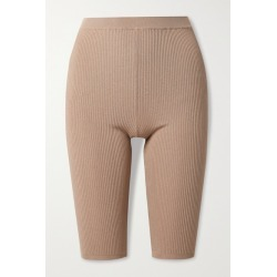 SAINT LAURENT - Ribbed Stretch-knit Shorts - Light brown found on Bargain Bro UK from NET-A-PORTER UK