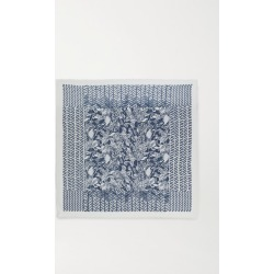 Loro Piana - Fringed Printed Cashmere And Silk-blend Scarf - Navy found on MODAPINS from NET-A-PORTER for USD $1475.00