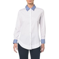 Camisa C Gola Listrada - Off White - 38 found on Bargain Bro from Calvin Klein BR for USD $102.04