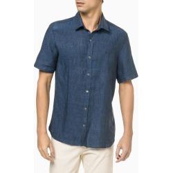 Camisa MC Regular Cannes Linen - Azul Marinho - 1 found on Bargain Bro from Calvin Klein BR for USD $119.54