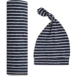 aden + anais navy stripe snuggle knit swaddle gift set