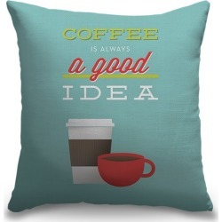 Canvas on Demand Indoor Burlap Throw Pillow 16 x 16 entitled Coffee Is Always a Good Idea