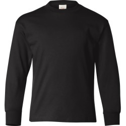 Hanes - Authentic Youth Long Sleeve T-Shirt - 5546 - Black - Small found on Bargain Bro Philippines from clothing shop online for $6.42