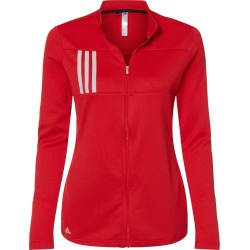 Adidas - Women's 3-Stripes Double Knit Full-Zip - A483 - Team Collegiate Red/ Grey Two - 2X-Large found on Bargain Bro from clothing shop online for USD $45.60