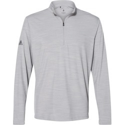 Adidas - Lightweight M�lange Quarter-Zip Pullover - A475 - Mid Grey Melange - Large found on Bargain Bro from clothing shop online for USD $49.40
