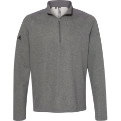 Adidas - Heathered Quarter Zip Pullover with Colorblocked Shoulders - A463 - Grey Five Heather - 3X-Large found on Bargain Bro from clothing shop online for USD $53.20