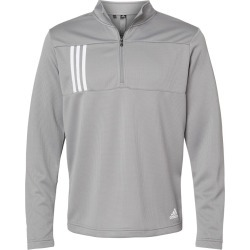 Adidas - 3-Stripes Double Knit Quarter-Zip Pullover - A482 - Grey Three/ White - Medium found on Bargain Bro from clothing shop online for USD $45.60