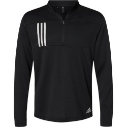 Adidas - 3-Stripes Double Knit Quarter-Zip Pullover - A482 - Black/ Grey Two - 3X-Large found on Bargain Bro from clothing shop online for USD $45.60