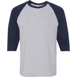Gildan - Heavy Cotton� Raglan Three-Quarter Sleeve T-Shirt - 5700 - Sport Grey/ Navy - 2X-Large found on Bargain Bro Philippines from clothing shop online for $7.30