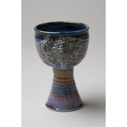 Large Porcelain Chalice with Grapes; Blue