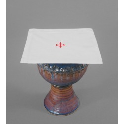 100% Cotton Chalice Pall with Red Cross - Pack of 3