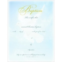 Baptism Certificate Premium Gold Foil Embossed Package of 6 - 8 1/2'' x 11''