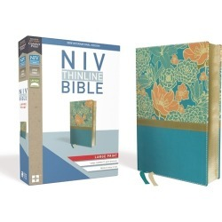 NIV, Thinline Bible, Large Print, Imitation Leather, Blue, Red Letter found on Bargain Bro India from cokesbury.com US for $39.99