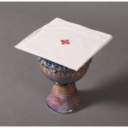 100% Cotton Chalice Pall with Red Cross and Vine - Pack of...
