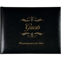 Small Black Bonded Leather Guest Book