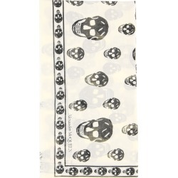ALEXANDER MCQUEEN SKULL SCARF OS White, Black Silk found on Bargain Bro UK from Coltorti Boutique EU