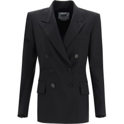 MSGM Double-breasted blazer in wool blend 38 Black Wool found on MODAPINS from Coltorti Boutique US for USD $343.85