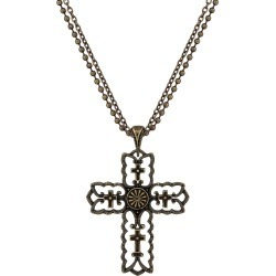 Rock 47 Vintage Kitsch Bronze-Tone Scalloped Cross Necklace found on Bargain Bro India from equestrian collections for $9.99