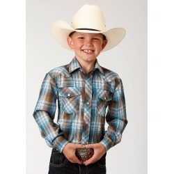 Roper Plaid Snap Western Shirt - Boys - Turquoise & Brown found on Bargain Bro India from equestrian collections for $28.99