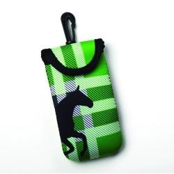 Kelley Tek Trek Neoprene Smartphone Case - Green Plaid Galloping Horse