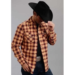 Stetson Mens Original Rugged Rugged Twill Check Long Sleeve Snap Shirt - Orange found on Bargain Bro India from equestrian collections for $66.99