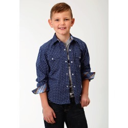 Roper Performance Print Western Shirt - Boys - Deep Blue Foulard found on Bargain Bro India from equestrian collections for $31.99