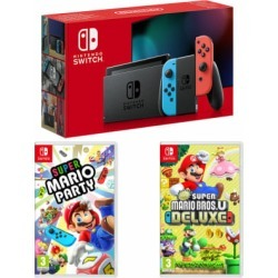 Nintendo Switch - Neon (improved battery) + New Super Mario Bros U Deluxe + Super Mario Party for Switch