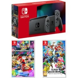 Nintendo Switch - Grey (improved battery) + Super Smash Bros. Ultimate + Mario Kart 8 Deluxe for Switch found on Bargain Bro UK from game UK