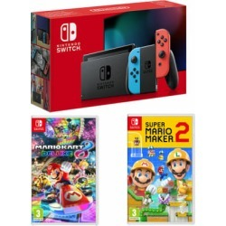 Nintendo Switch - Neon (improved battery) + Mario Kart 8 Deluxe + Super Mario Maker 2 for Switch