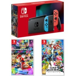 Nintendo Switch - Neon (improved battery) + Super Smash Bros. Ultimate + Mario Kart 8 Deluxe for Switch