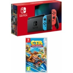 Nintendo Switch - Neon (improved battery) + Crash Team Racing Nitro-Fueled for Switch