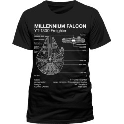 Star Wars - Millennium Falcon Blueprint T-Shirt - XL for Clothing and Merchandise