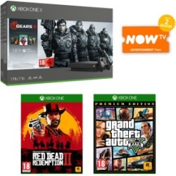 1TB Xbox One X with Gears 5 + Red Dead Redemption 2 + Grand Theft Auto V Premium Edition and NOW TV for Xbox One