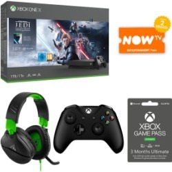1TB Xbox One X with Jedi Fallen Order + Turtle Beach Recon 70X + Wireless Controller + 3 Months Game Pass Ultimate and NOW TV for Xbox One