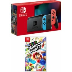 Nintendo Switch Neon (Improved Battery) with Super Mario Party for Switch